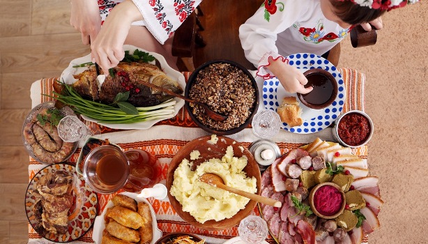Traditional Ukrainian Christmas food on the table. view from above